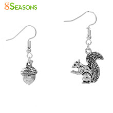 "8SEASONS Handmade Earrings antique silver-color silver-color Acorn Squirrel 40mm(1 5/8"") x 20mm( 6/8""), 1 Pair(China)"