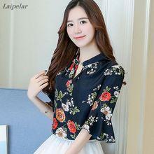 цена на Chiffon Shirt Women Tops And Blouses 2018 Short Sleeve Female Blouse New Korean Fashion Stripe/Flower Print Ladies Summer Top