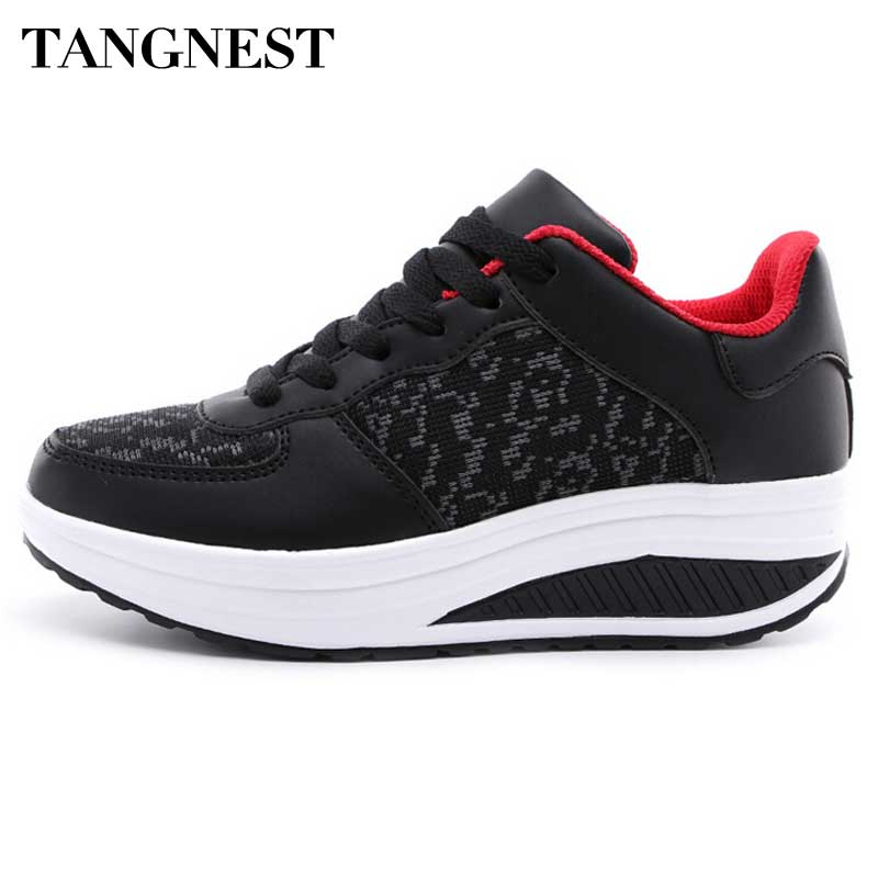 Tangnest 2017 Spring Mesh Shoes Women Swing Platform Flats Women Breathable Elevator Shoes Woman Light Shoes Size 35 ~41 XWD4930