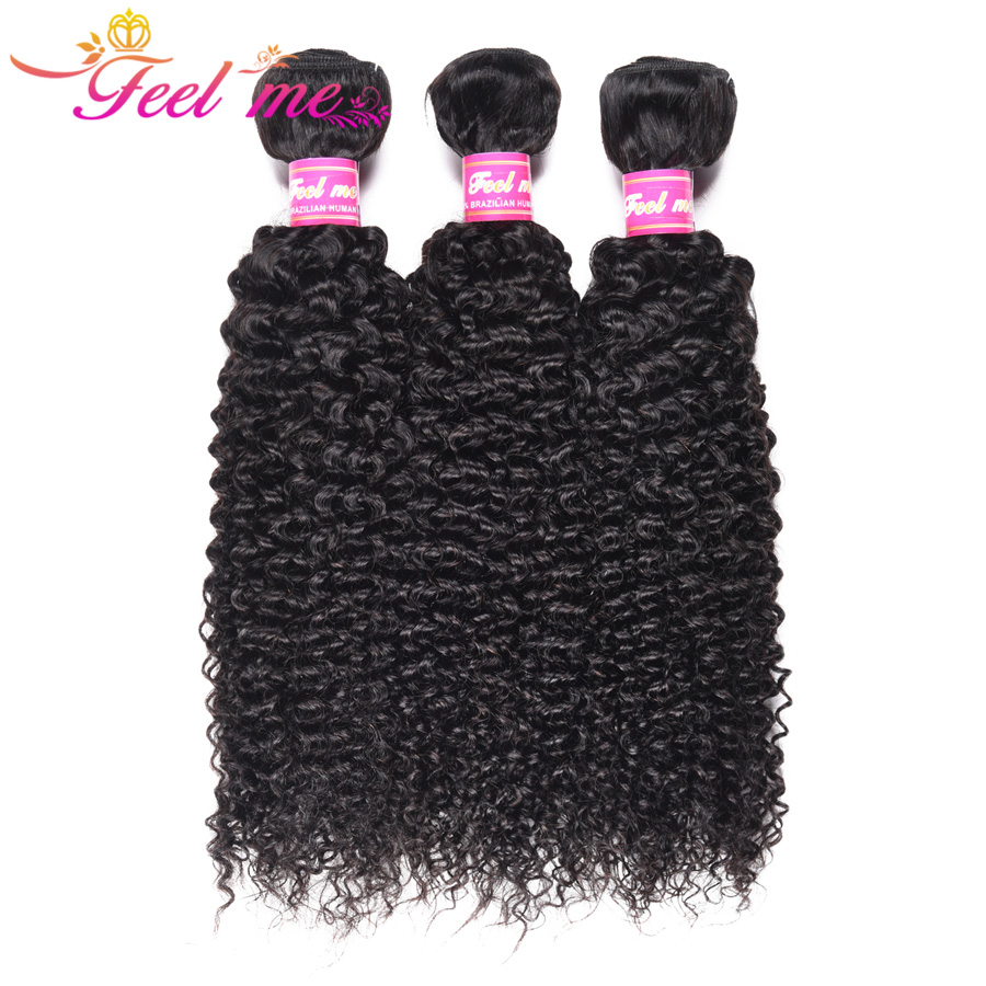 FEEL ME Mongolian Kinky Curly Hair Bundles 100% Cabelo Humano Bundles Pode Comprar 1/3/4 PCS Natural cor Remy Extensões de Cabelo Humano
