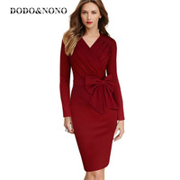 DODO NONO The New Vfemage Womens Elegant Retro Rock Long Sleeve Waist Bow Tights Dress Red