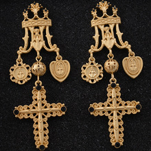 цены Gold Color Cross Earrings for Women Cross Pendant Earrings Drop Earrings Vintage Fashion Jewelry Accessories
