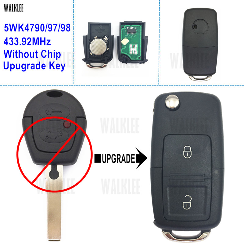 WALKLEE Upgrade Key For VW/VolksWagen Car Remote Sharan 5WK4 790/97/98 433.92 MHz Without Immobilizer Chip