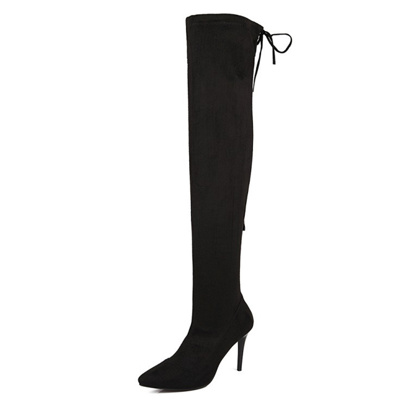 High Thigh Women's Boots Stiletto Heel Sexy Party Knee Platform Heels Black Foreign Trade 2017 Autumn And Winter New Style Sexy