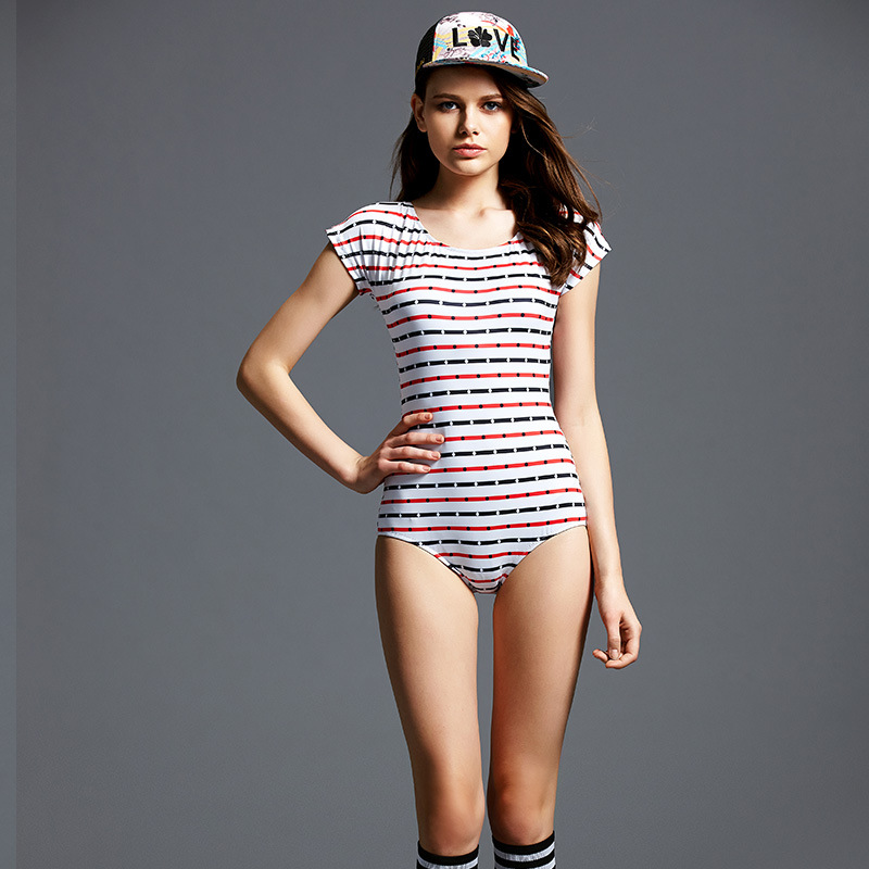 Beach Sports Striped Swimwear Woman One-piece Swimsuit Comfortable Simple Sexy Racing Triangle Swimsuit Female competition racing one piece swimsuit