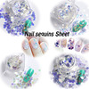 BlueZoo 35 Bottles Sequins Shinny Glitter Powder Sheets Blue Nails Glitters Rhinestone For Nail Art Decoration