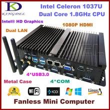 Бесплатная доставка Barebone промышленный компьютер безвентиляторный мини-ПК, Intel Celeron 1037U процессор, 2*1000 м LAN, 4 * COM, 2 * USB 3.0 300 м Wi-Fi, HDMI