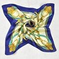 Venta caliente de Las Mujeres Pequeña Bufanda de Seda Impresa Patrón de la Cadena de Moda Cuadrado Azul Oscuro 100% Pañuelos de Seda Bufanda del Estilo de Europa América