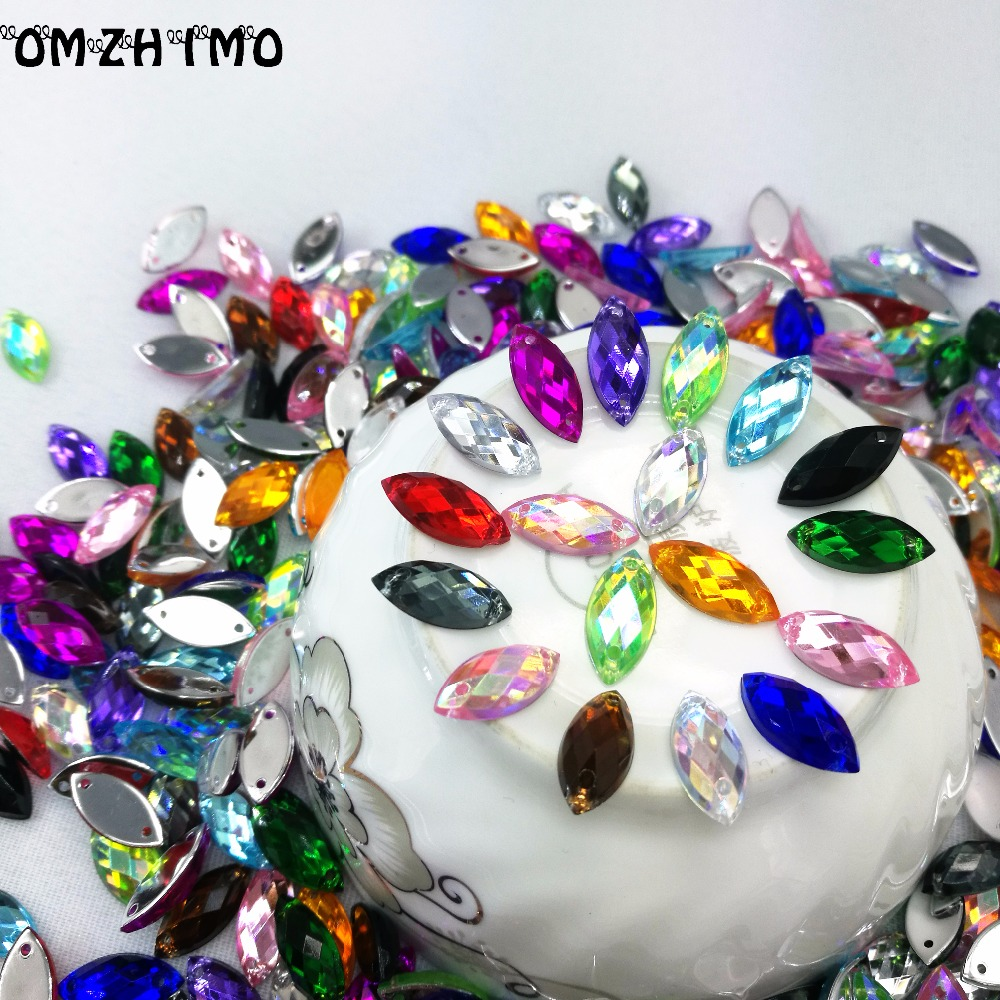 7*15mm Sewing Crystal AB Flatback Rhinestones Sew On Crystals Stones Horse Eye Acrylic Strass For DIY Clothes Crafts 50pc