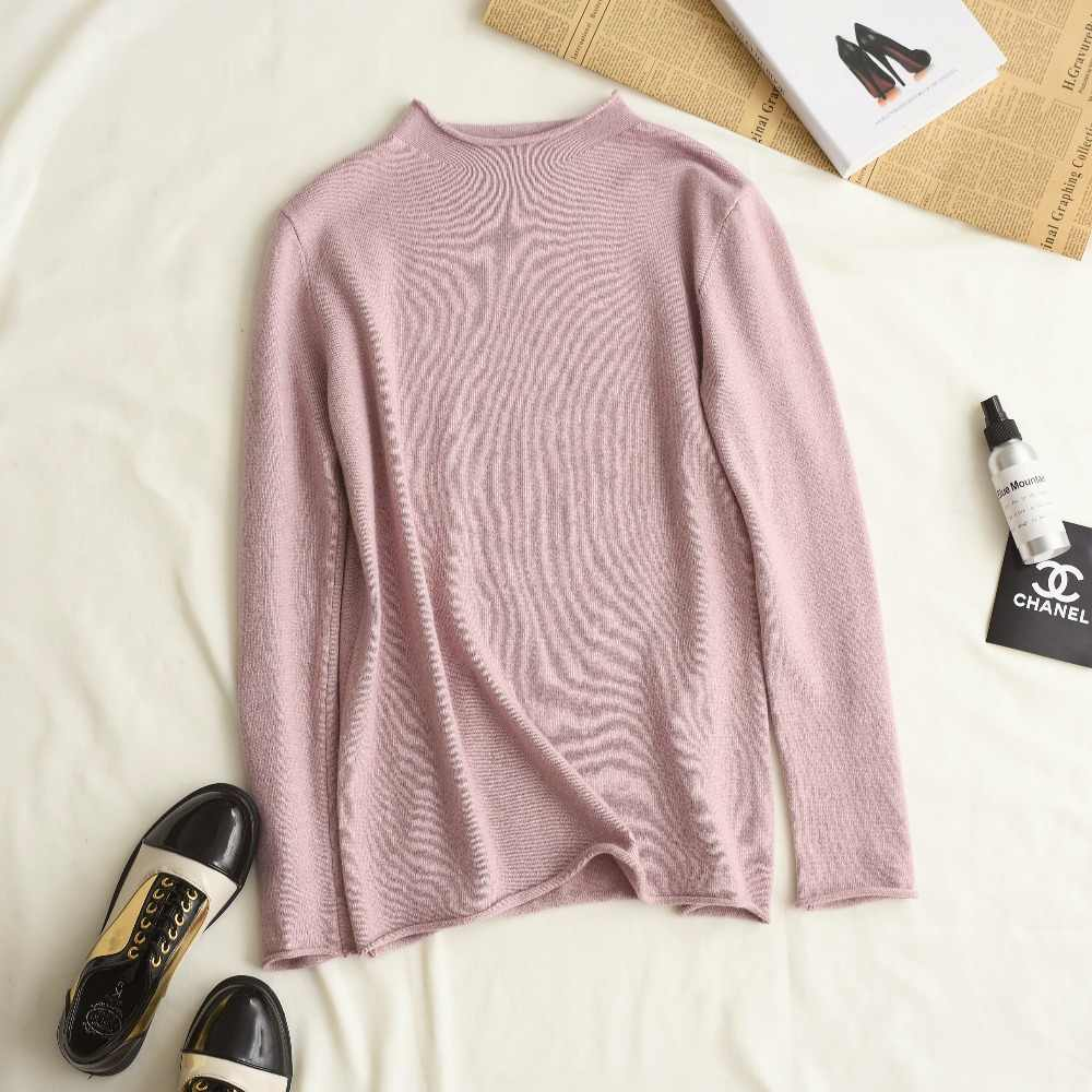 2019 новая зимняя Для женщин с круглым вырезом и длинными рукавами кашемировые вязаные свитера-пуловеры женский сплошной Цвет тонкий Повседневное шерстяной свитер