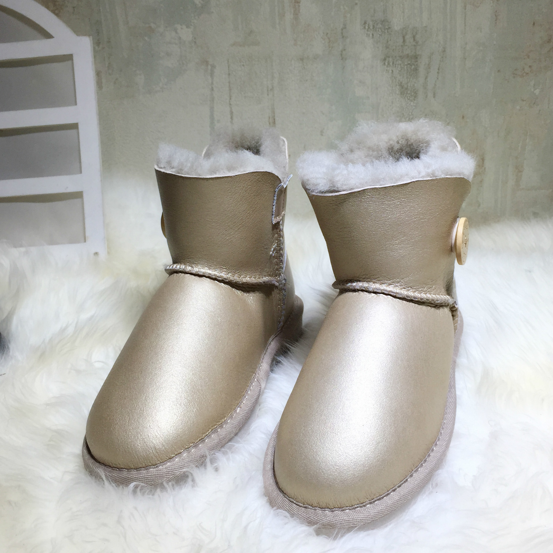 Quality Genuine Sheepskin Leather Snow Boots Women Waterproof Winter Boots 100% Natural Fur Wool Button UG Australia Women Boots 2016 australia fashion high quality waterproof genuine sheepskin leather snow boots real fur 100% wool women winter snow boots