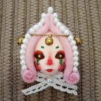 Cute Doll Face Brooch Vintage Antique Beaded Wool Felt Bow Tie Circus Clay Lady Vintage Inspired Pin Badge Unique Handmade