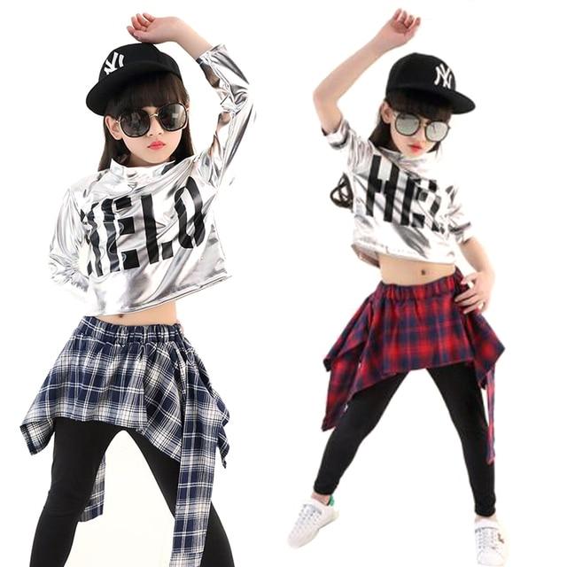 BAZZERY trẻ em bé gái bé trai hip hop Jazz trang phục hiện đại phòng khiêu vũ múa mặc ngắn Áo sơ mi tay dài đầu kiểm tra pantskirt culottes