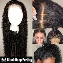 Preplucked 13x6 Deep Part Lace Front Human Hair Wigs Full Ends Curly Wig Peruvian Virgin Hair Frontal Wigs For Black Women Wave(China)