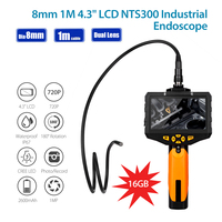EYOYO NTS300 1M 8mm Endoscope Dual Camera Lens Flexible IP67 Waterproof Inspection Borescope Cameras 6LEDs Oil proof Snake Cam