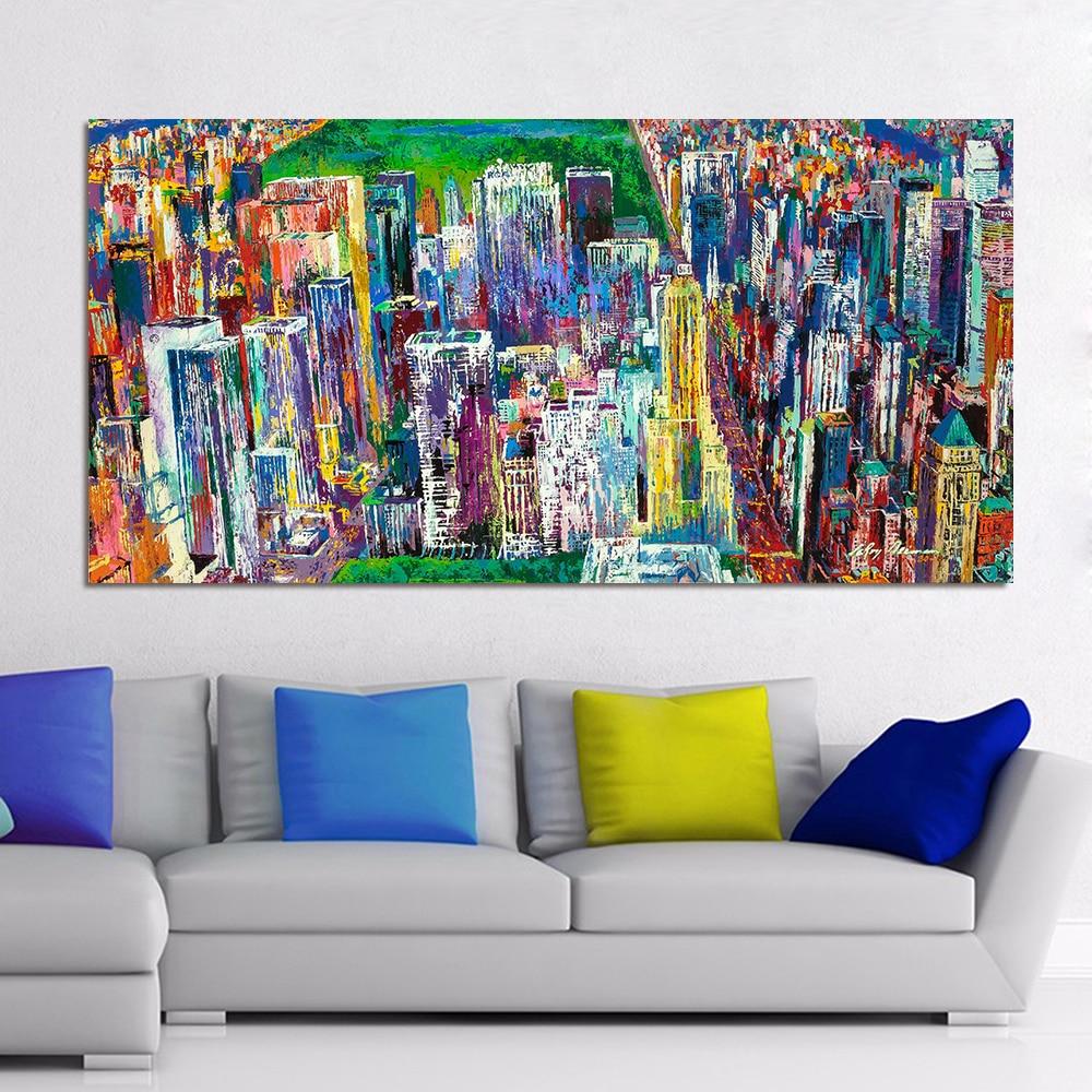 HDARTISAN Landschaft Ölgemälde Manhattan Panorama Leinwand-drucke ...
