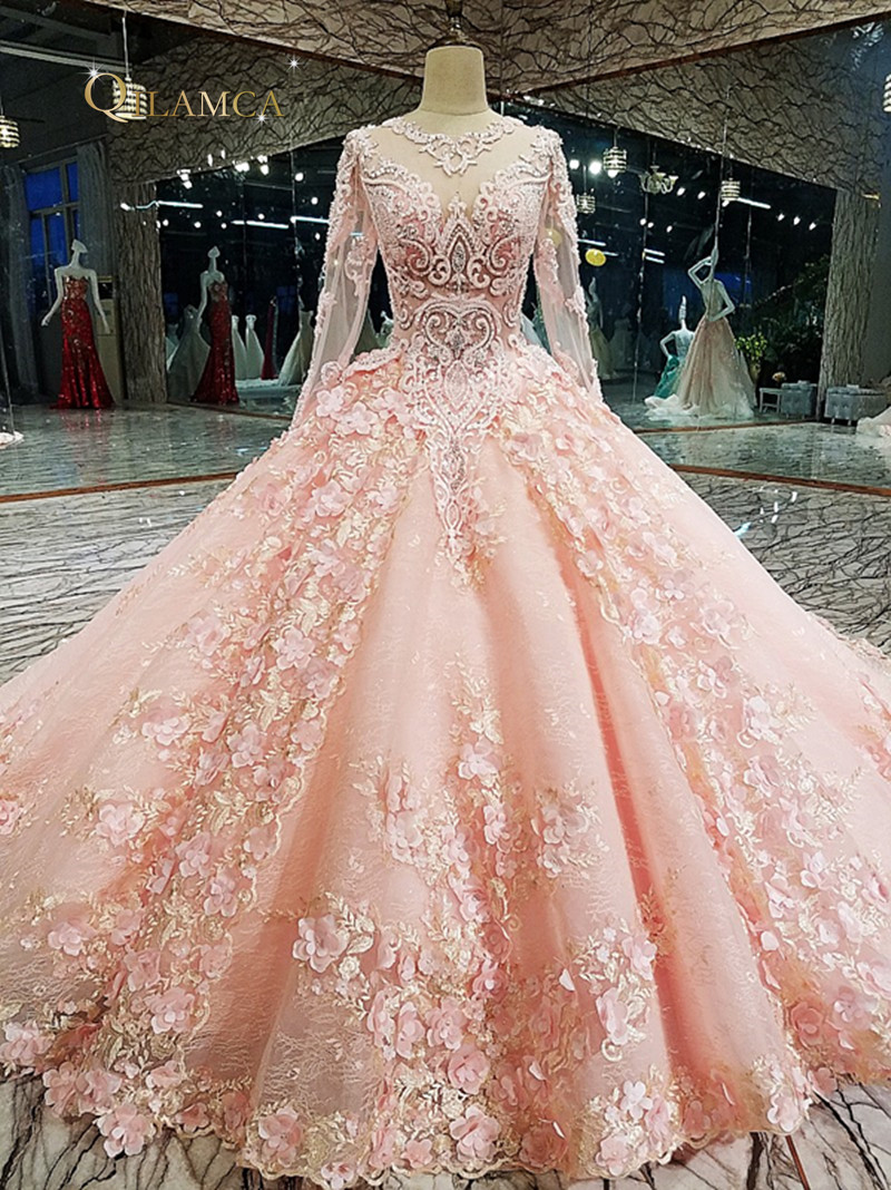 Rose Robe De Soirée Zipper Up sur le dos 3D Fleurs Dentelle robe de bal Longue Robe de Soirée abendkleider Réel Photos