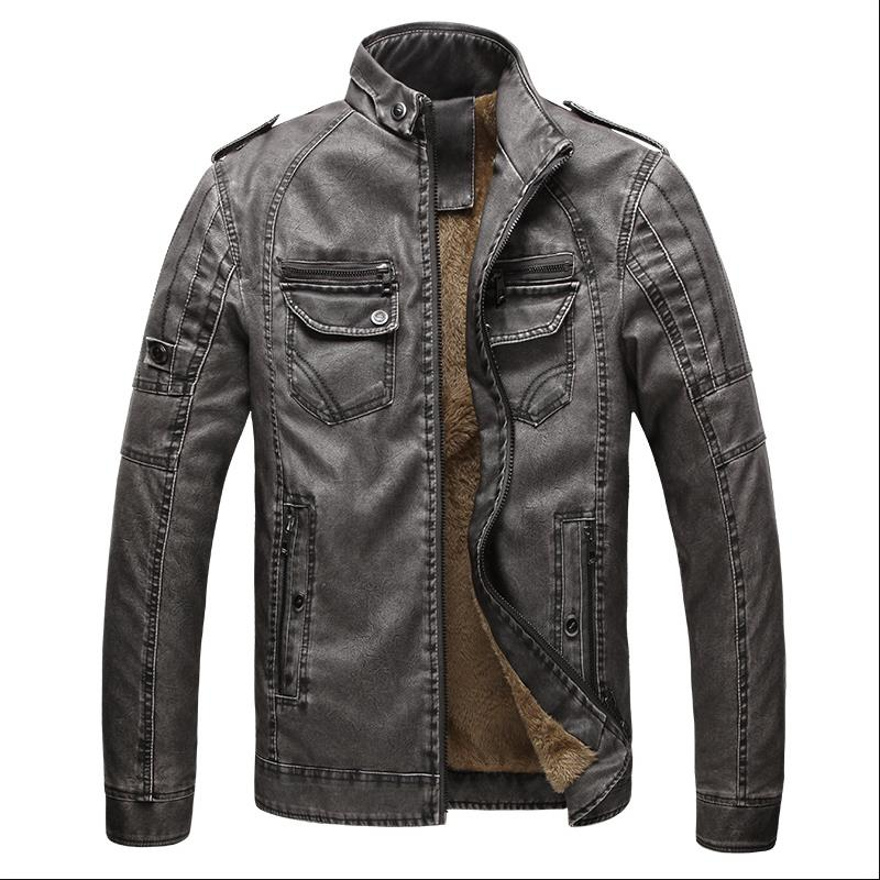 Men's leather jacket European and American men's jacket warm jacket