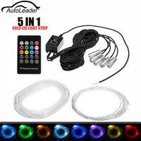 Autoleader 4 5 In 1 LED Car Neon EL Strip Light Sound Active Remote Control RGB