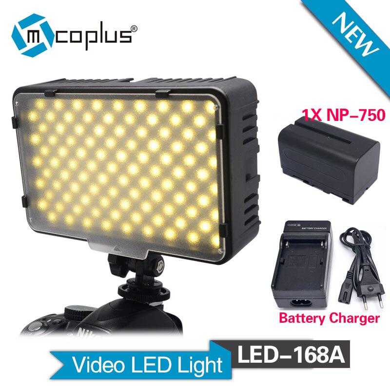 Mcoplus 168A LED Video Light s 1ks baterií NP-F750 pro videokamery a digitální zrcadlovky