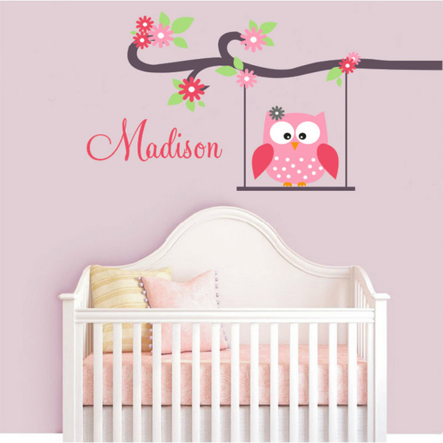 Modern Owl Wall Stickers Swing Monogram Custom-made Name Wall Decals Vinyl Wall Art Girls Nursery Bedroom Decoration Home Decor