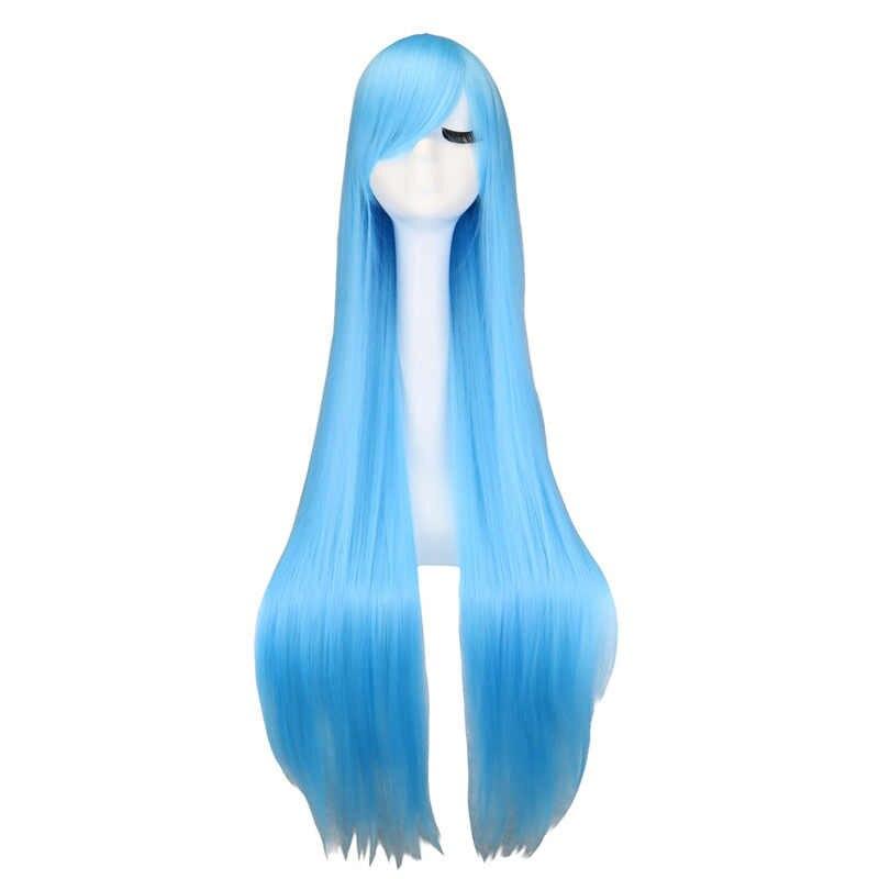 QQXCAIW uzun düz Cosplay peruk siyah mor siyah kırmızı pembe mavi koyu kahverengi 100 Cm sentetik saç peruk