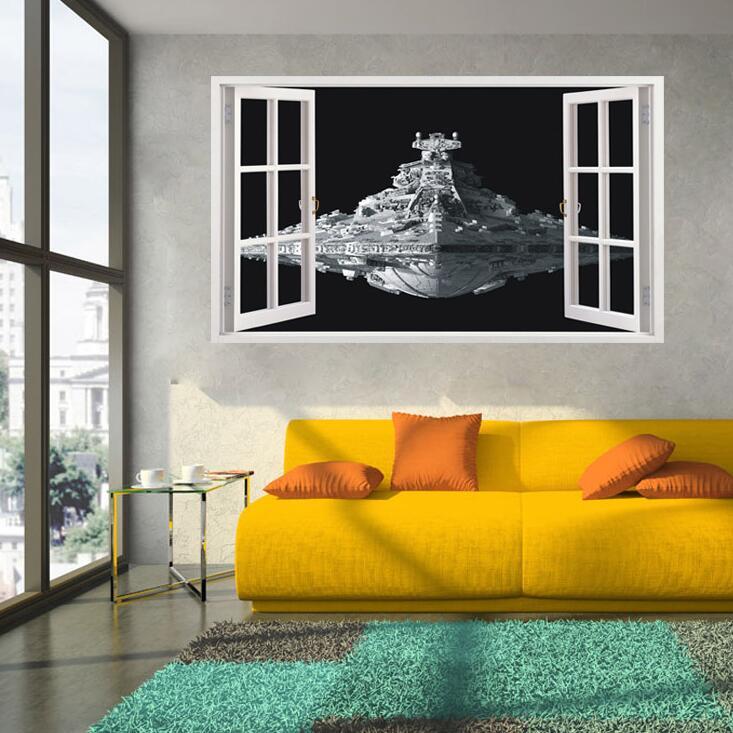 Star Wars Наклейки 3D Звездный Разрушитель Водонепроницаемый Туалет Наклейки на стену съемный Министерстве магии обои Домашний Декор стены Кни...
