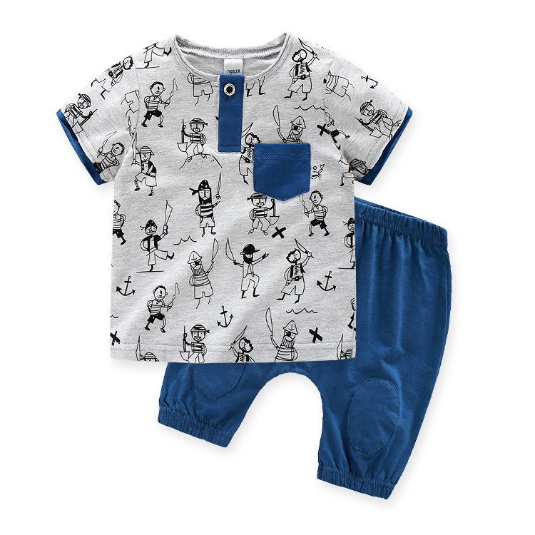 fc5aa6bd676f Summer Baby Sets Cotton Kids Suits Cute Cartoon Pirates Dress Gray ...