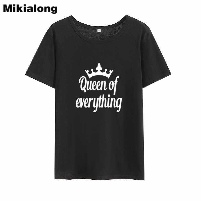 Mikialong 女王すべての原宿 Tシャツ女性 2018 O ネックルーズ Tシャツファム黒、白フォロー女性 Tシャツトップス