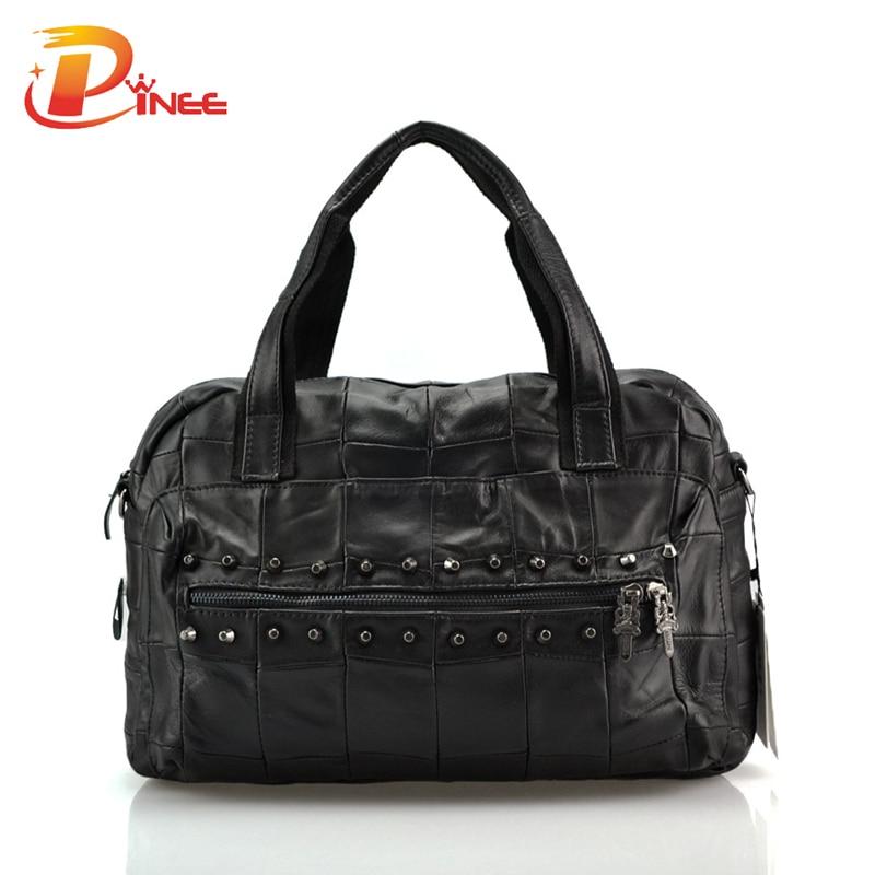 ФОТО Ladies Genuine Leather Business Handbag High Quality Fashion Rivets Designer Women Bags