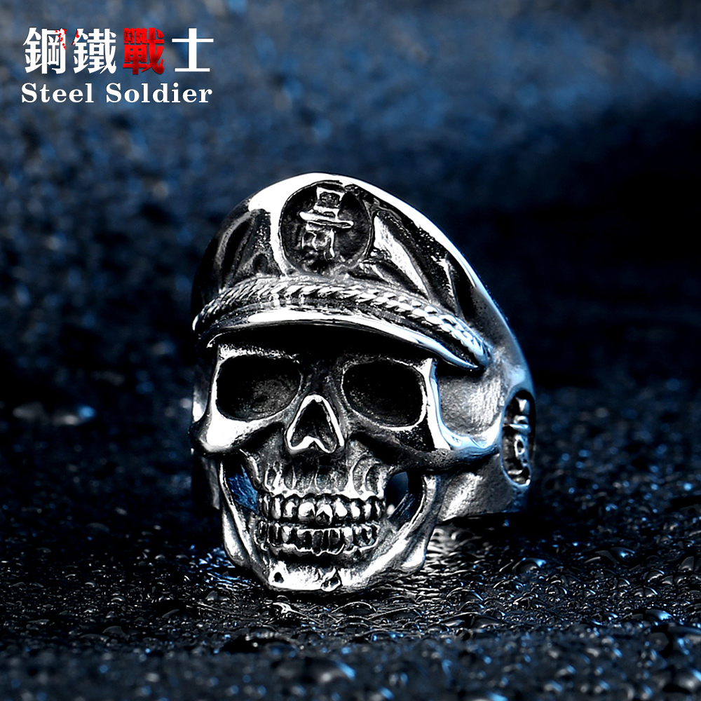 Steel soldier punisher skull policeman stainless steel men ring new arrival punk jewerly