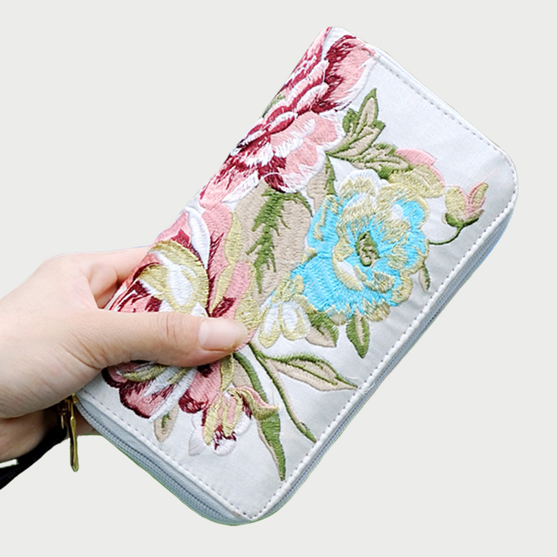 Embroidery Purse Wallet Canvas Day-Clutch Floral Handmade Party Long Double-Zipper Women