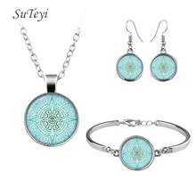 SUTEYI Hot Selling Women Jewelry Set Crystal Glass Earrings Handmade Abstract High Quality Necklace Mandala Bracelet Jewellery(China)