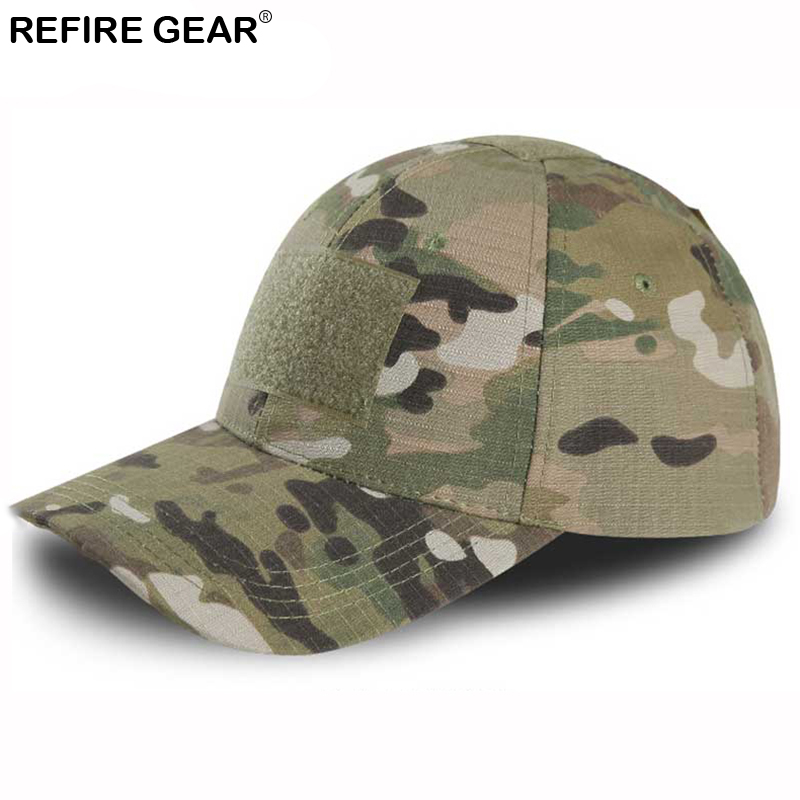 Refire Gear Outdoor Snapback Camouflage Hat Hiking Hunting Baseball Cap Men Rip-stop Adjustable Fishing Camping Jungle Caps Top Watermelons