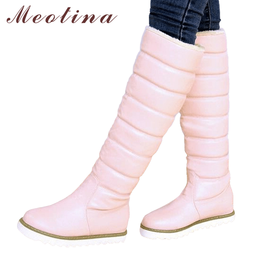 Meotina Winter Women Snow Boots Australia Platform Wedge Heels Boots Knee High Boots Pleated Black White Lady Shoes Big Size 43 все цены