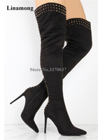 New Fashion Women Black Suede Leather Gold Rivet Over Knee Boots Super High Heel Thigh Long Spike High Heel Boots Dress Shoes
