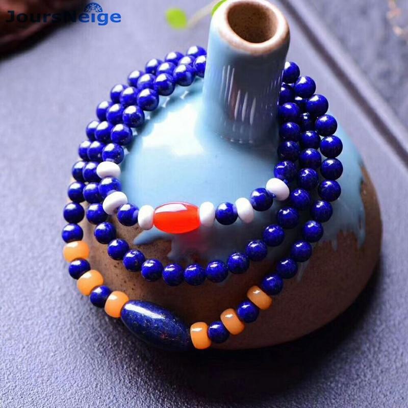 Gros JoursNeige bleu vieille Mine Lapis Lazuli avec perles jaunes pierre naturelle bracelets pour femme Bracelet en cristal bijoux