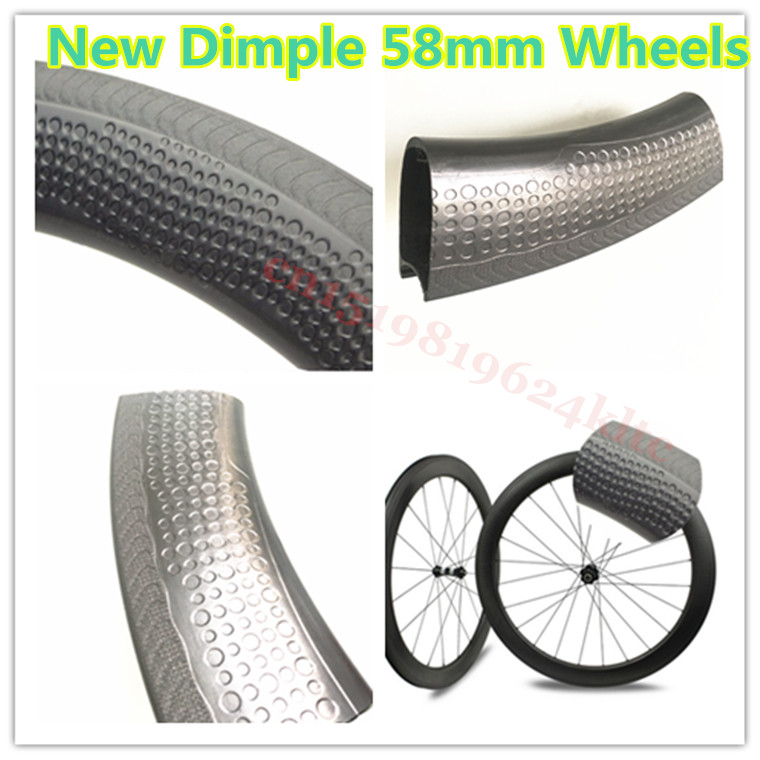 bicycle road wheels Clincher 58mm Carbon Wheelset Dimple Surface Full Carbon Road Bike Wheels Accept Custom Decal,Free Shipping!