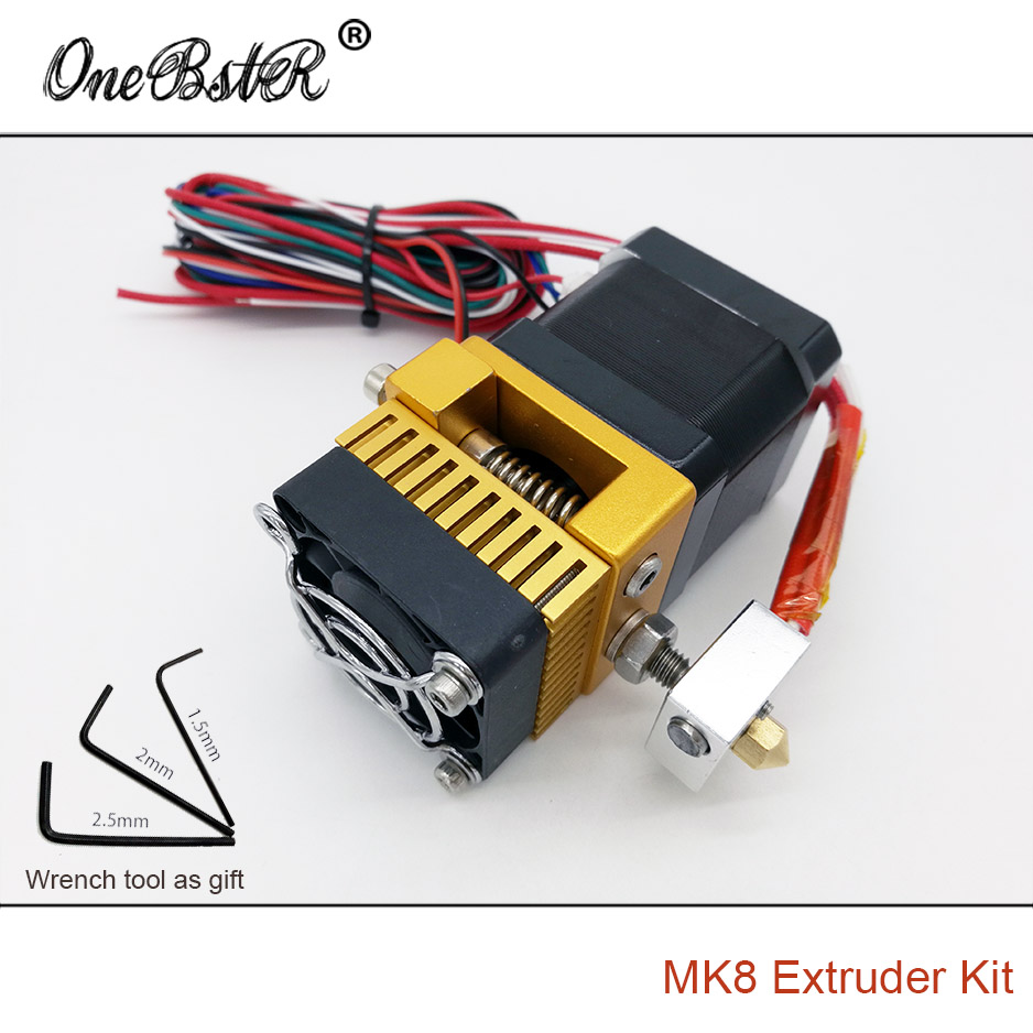 2017 New MK8 Extruder Kit Makerbot Prusa i3 Printhead Full Metal Extrusion Head Single Exturder General Wrench Tool As Gift 3d printers parts mk8 extruder head j head hotend 0 4mm nozzle kit 1 75mm filament extrusion mk8 extruder kit