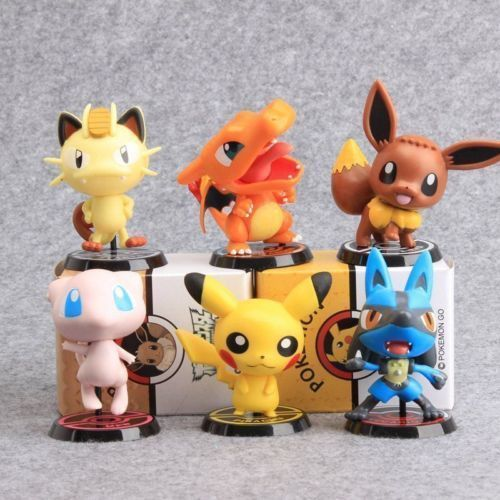 6pcsPikachu EEVEE Charizard MEW Lucario Meowth Action Figures SET Anime Figure Collectible Model Toy