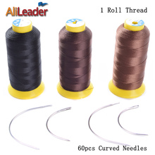 Alileader Hair Extension Needle And Thread, Brown Blonde Black Sewing Nylon Thread, 60Pcs Curved Weave Needle And Weaving Thread(China)