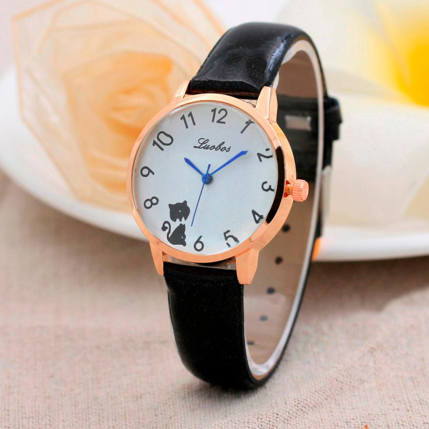 цена на watch women luxury Cute cat pattern Strap Digital Dial Leather Band Quartz Analog Wrist Watches Ladies Dress Wristwatch Reloj