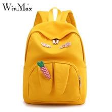 Japan ita Backpack Women Harajuku Cute Carrot Junior School Bag Korean Teenage Girls Yellow Kawaii Rabbit Ear Laptop Back Pack