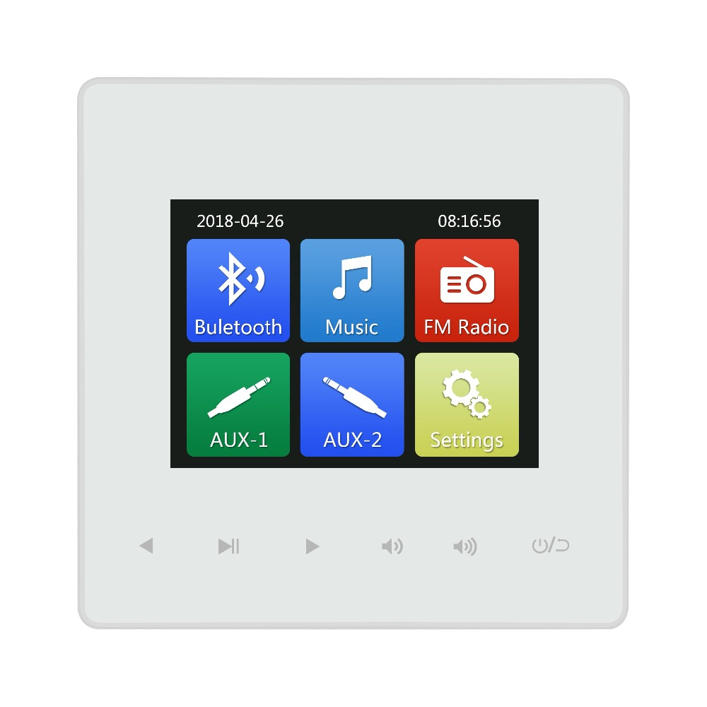 2.8 Inch 86 Audio Visual In Wall Amplifiers Bluetooth Controller With USB And TF Port Match For Ceiling Speaker Computer Doorbel
