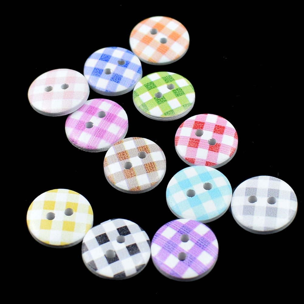 100PCS Wood Button Random Mixed Multicolor Stripe Style Round 2 Holes Wood Painting Sewing Buttons Scrapbooking 15MM