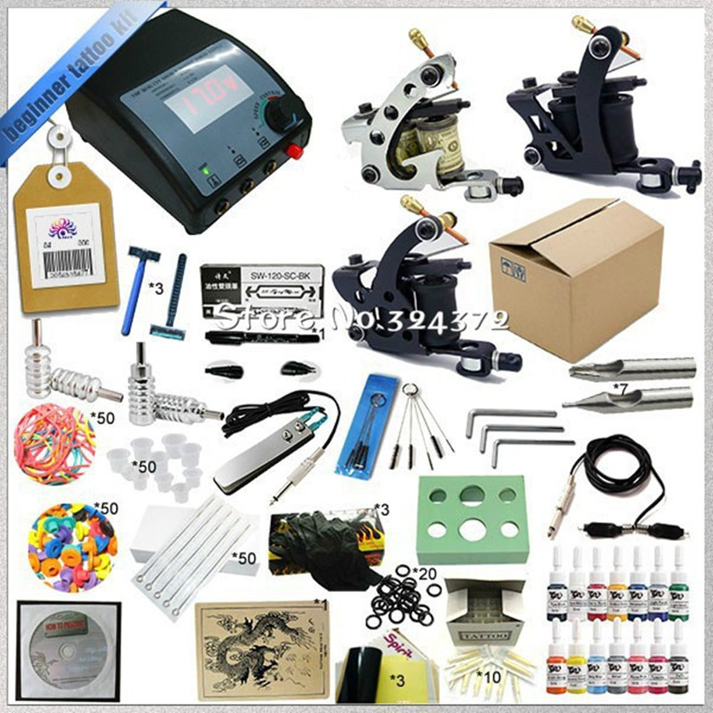 High quality 3 Guns Complete Tattoo Kit Equipment Sets Rotary Machine+Ink +Power Supply +Needle + CD for Beginners Body Art p80 panasonic super high cost complete air cutter torches torch head body straigh machine arc starting 12foot