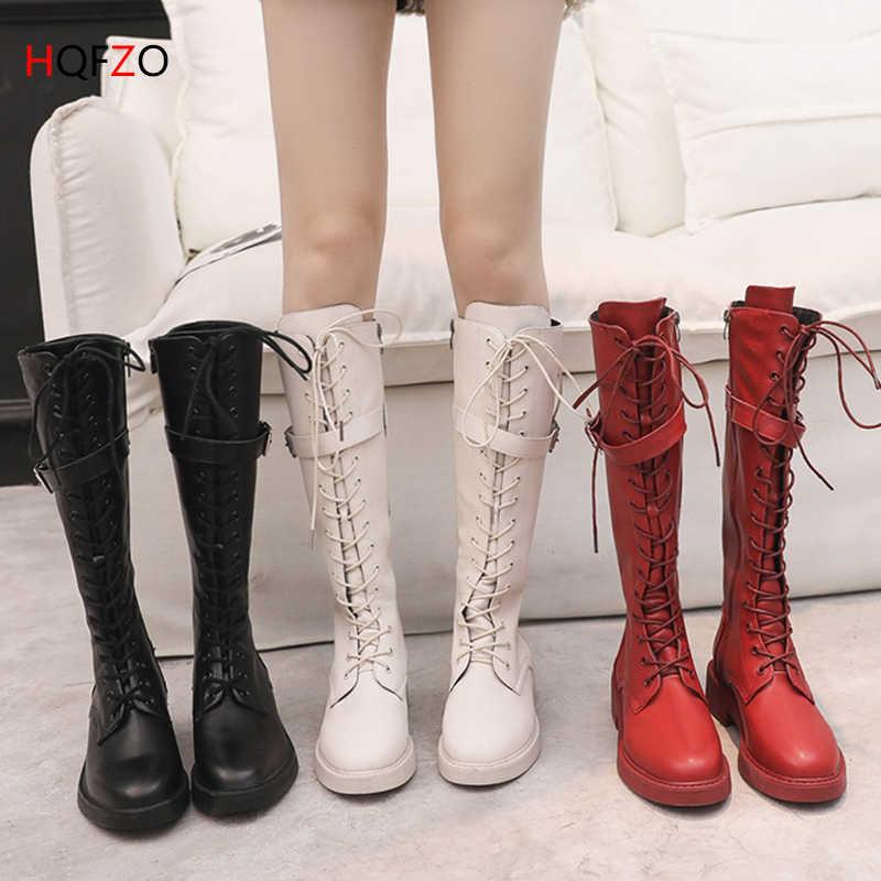 HQFZO PU Deri Kadın Uzun Çizmeler Sürme Rahat Kemer Toka Fermuar Sonbahar Kış Uyluk Yüksek Çizmeler Botas Mujer Siyah/ beyaz/Kırmızı