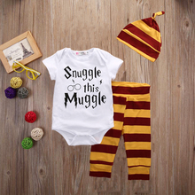 2018 Newborn Baby Boys Girls Clothing Set Letter Print Snuggle This Muggle 3PCS Bodysuit+Stripe Pants+Hat Outfits Clothes Sets