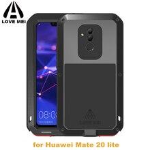 LoveMei Kim Loại Mạnh Mẽ Chống Nước Cho Huawei Mate 20 Lite Mate20 LT Nhôm Bụi Bẩn Chống Sốc Chống Cover Với Kính Cường Lực Gorilla Glass bộ Phim