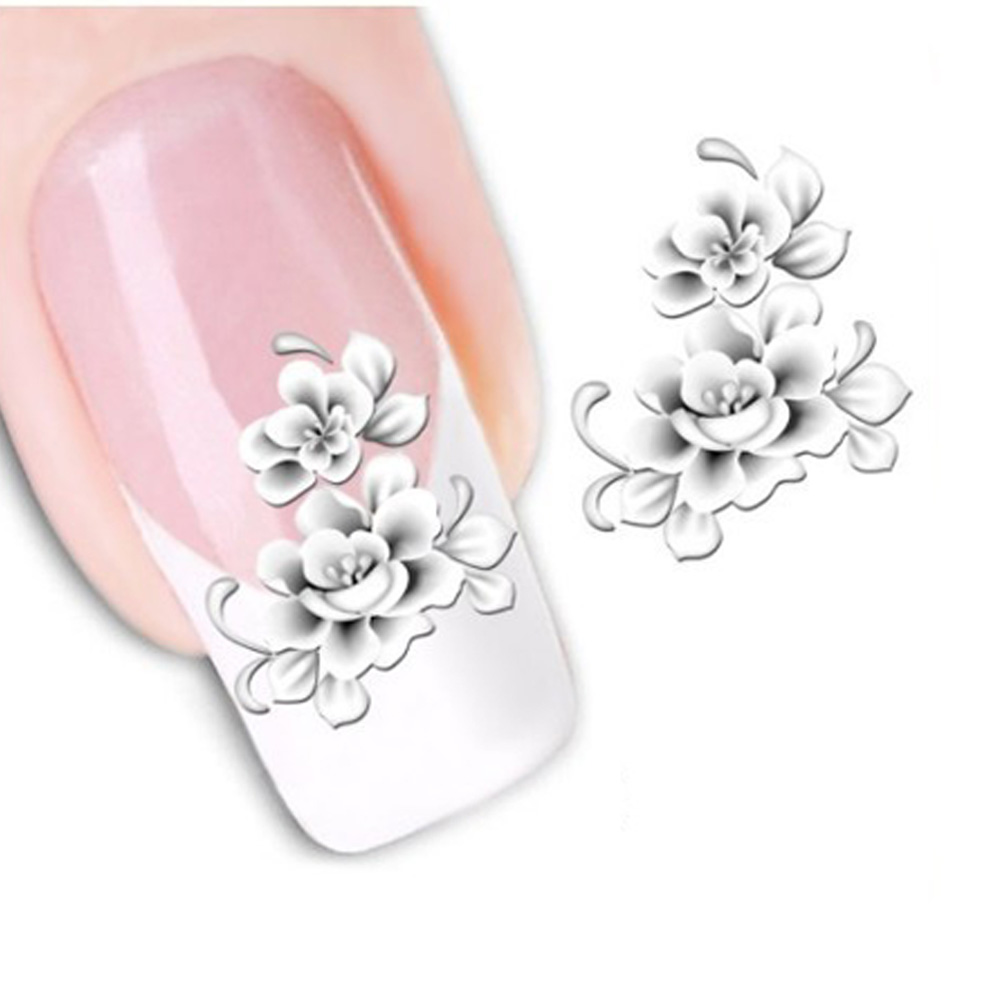 1sheets Fashion White Flower Beauty Polish Items Nail Art Decals